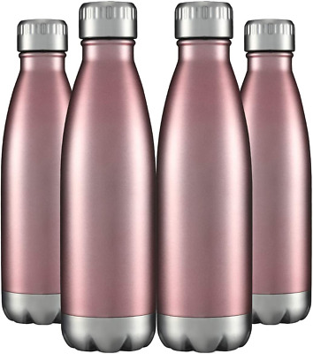 Water Bottles 4 Packs in Bulk Stainless Steel 17oz, Insulated Double Wall Vacuum
