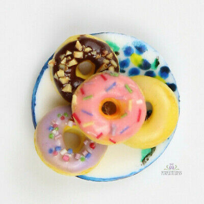 12th Scale 4 Assorted Doughnuts - Dollhouse Miniature Food Art