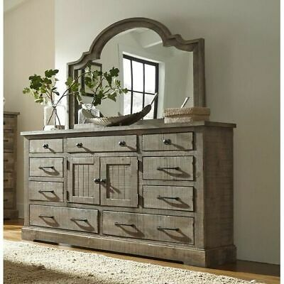 Progressive Meadow Door Dresser and Mirror Grey N/A