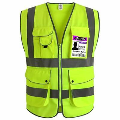 JKSafety 9 Pockets Class 2 High Visibility Zipper Front Safety Vest with