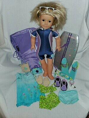"""American Girl Doll Kailey 18"""" Doll with Accessories & Surf Board!"""