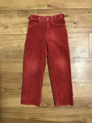 Vintage Childrens Cacharel Red Corduroy Trousers 4 Years