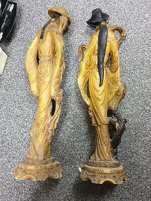 Vintage Pair Of Composite Resin Handcrafted Chinese Figurines 50-cm Tall, Slight