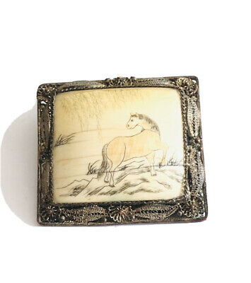 Antique Chinese Hand Painted Horse Brooch , Filigree ,