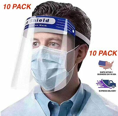 Premium 10 Pack FDA Approved Full Face Anti-Fog Clear Face Shield Protector