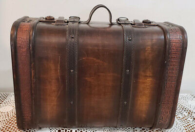 "Vintage Brown Wooden Storage Travel Suitcase 18"" X 12.5"" X 8"""