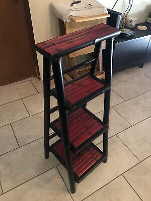 Vintage Red/Black Wooden Ladder Shelf 40 Inches Tall Indoor Decor