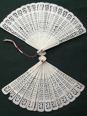 Antique Chinese Carved Brise Fans Cattle Bovine Bone x two