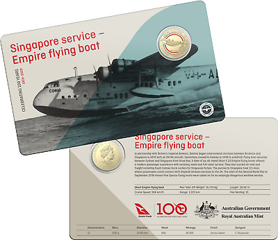 2020 RAM $1 One Dollar Qantas Singapore service - Carded Coin D5-3262