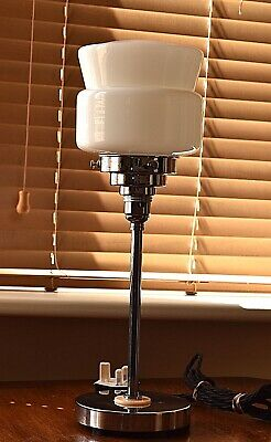 Cool Art Deco table lamp with white glass stepped shade M20