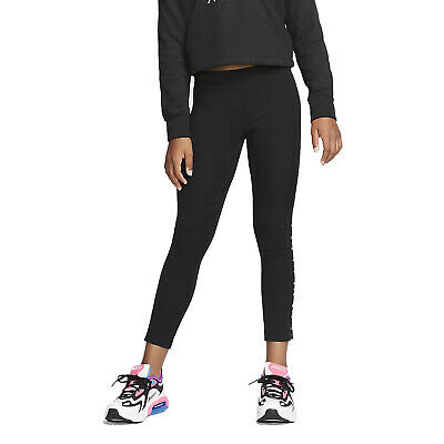 94728-Puma Essentials Girls Graphic Leggings Nero in Cotone da Bambino 843763-01