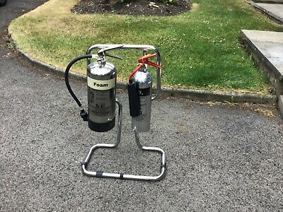 chrome fire extinguishers and stand