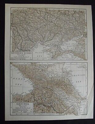 Vintage Map: Southern Russia / Caucasia by Emery Walker, 1926, Bi-colour