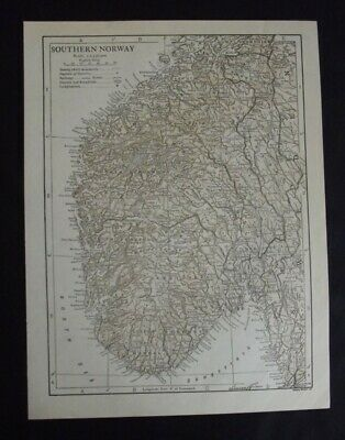 Vintage Map: Southern Norway, Europe, by Emery Walker, 1926, Bi-colour
