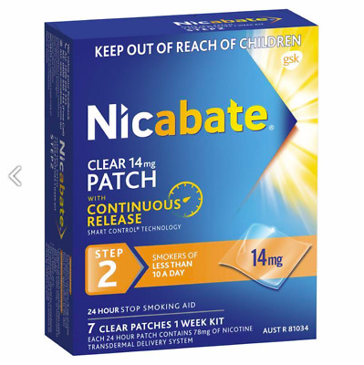 Nicabate Clear 14mg Patches With Continuous Release STEP 2. 1 Week Supply (7)