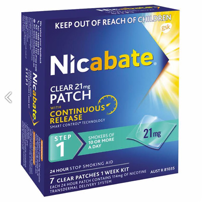 Nicabate Clear 21mg Patches With Continuous Release STEP 1. 1 Week Supply (7)