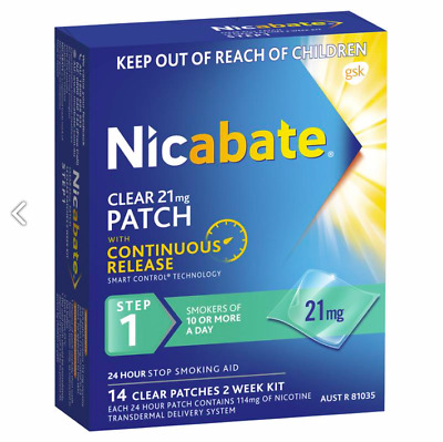 Nicabate Clear 21mg Patches With Continuous Release STEP 1. 2 Week Supply (14)