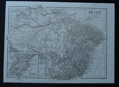 Vintage Map: Brazil, South America, by Emery Walker, 1926, B/W