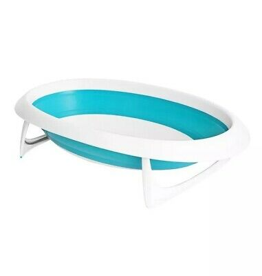 BOON NAKED Two Position Collapsible Baby Bathtub / Blue & White