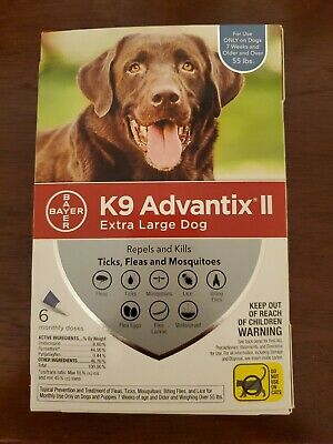 K9 ADVANTIX II For Extra Large XL Dog over 55 Lbs 6 Month Flea & Tick FREE SHIP
