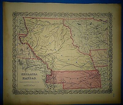 1856 Colton Atlas Map KANZAS - NEBRASKA - MINNESOTA TERRITORY Antique Original