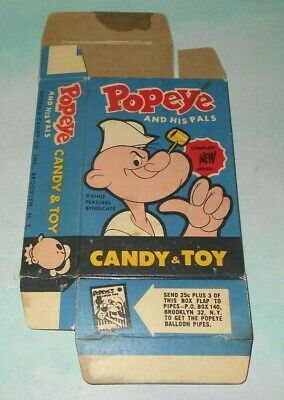 Vintage 1960s Phoenix Candy Co Popeye and His Pals Candy and Toy Box