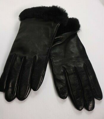 Authentic Ugg 6705 Women's Leather Shearling Shorty Glove Black Size M $110 New