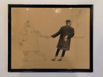 J. HERR Drawing Jewish Artist Humor Art Original of Rabbi with wife and nude