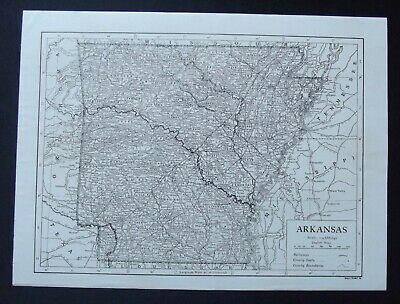 Vintage Map: Arkansas, United States, by Emery Walker, 1926, B/W