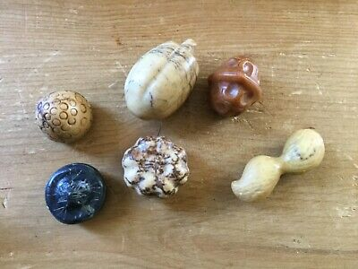 Vintage Collection Of Carved Stone Nuts
