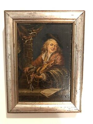 Really Old Painting Small Oil On Panel Early 19th Century Half Length Portrait