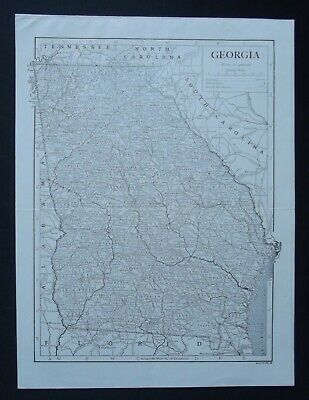 Vintage Map: Georgia, United States, by Emery Walker, 1926, B/W