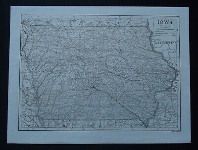 Vintage Map: Iowa, United States, by Emery Walker, 1926, B/W