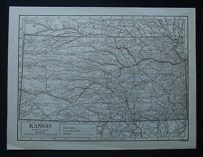 Vintage Map: Kansas, United States, by Emery Walker, 1926, B/W