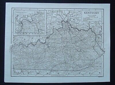 Vintage Map: Kentucky, United States, by Emery Walker, 1926, B/W