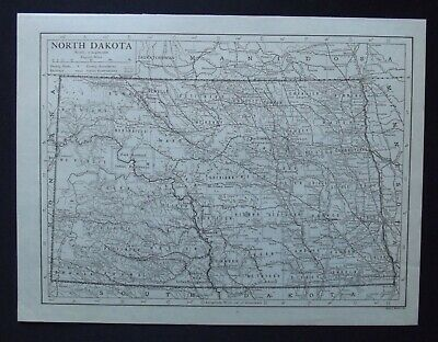 Vintage Map: North Dakota, United States, by Emery Walker, 1926, B/W