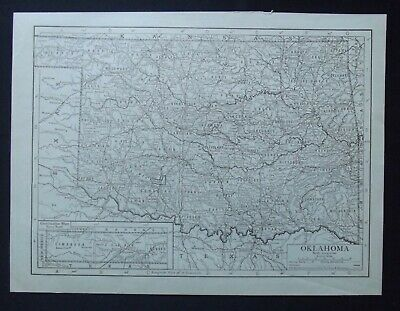 Vintage Map: Oklahoma, United States, by Emery Walker, 1926, B/W