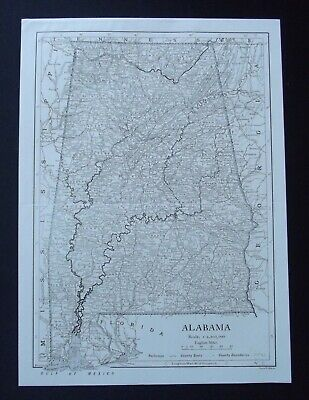 Vintage Map: Alabama, United States, by Emery Walker, 1926, B/W