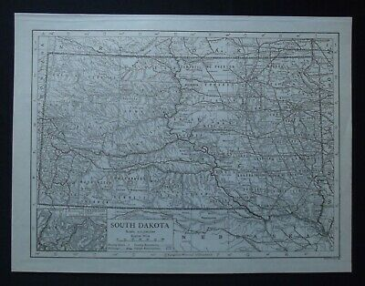 Vintage Map: South Dakota, United States, by Emery Walker, 1926, B/W