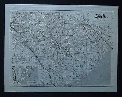 Vintage Map: South Carolina, United States, by Emery Walker, 1926, B/W