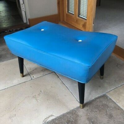 Vintage 1950s Retro Blue Vinyl Low-Level Stool - completely original and fab