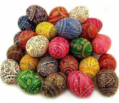 Religious Gifts 25 Wooden Hand Painted Ukrainian Pysanky Easter Eggs 2 5/8 Inch