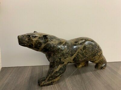 Mark TOTAN Inuit Carving Soapstone Hand Carved Native Eskimo BEAR Sculpture ART