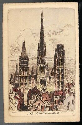 Antique The Cathedral Rouen France Colored Etching Art Postcard