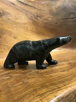 Mark TOTAN Inuit Carving Soapstone Hand Carved Native Eskimo BRINDLED BEAR Art