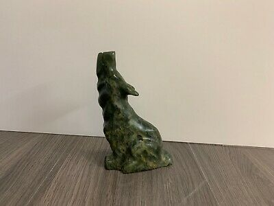 Mark TOTAN Inuit Carving Soapstone Hand Carved Native Eskimo WOLF LEGEND Art