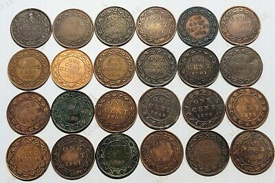 24 Coin Lot Of Canada Large Cents Great Date Mixture ! Average Circulated Grades