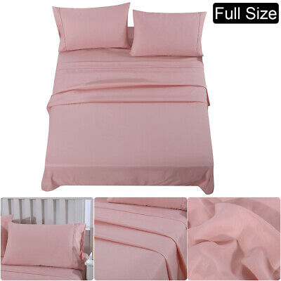 Full Size Bed Sheet Set Extra Deep Fitted Sheet Mattress Cover Microfiber Pink