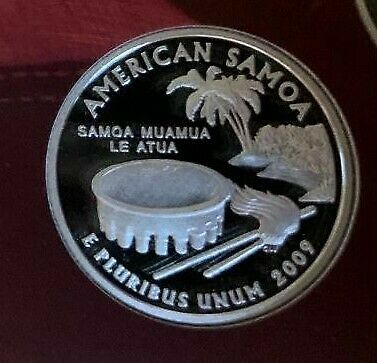 2009 S American Samoa Proof 90% Silver Quarter From Silver Proof Set Deep Cameo