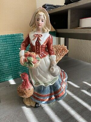 """Large 10"""" Tall Fitz & Floyd Harvest Heritage Female Candle Holder In Box 68/610"""